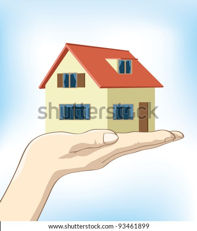Image of a hand holding up a house on nice clear blue background.
