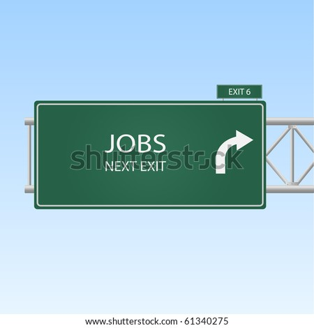 """Image of a highway sign with an exit to """"JOBS""""."""