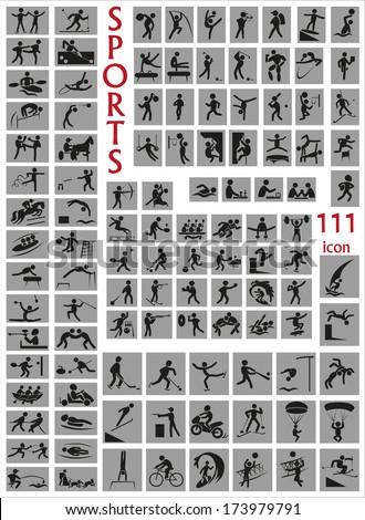 Image of a large number of icons with sports.