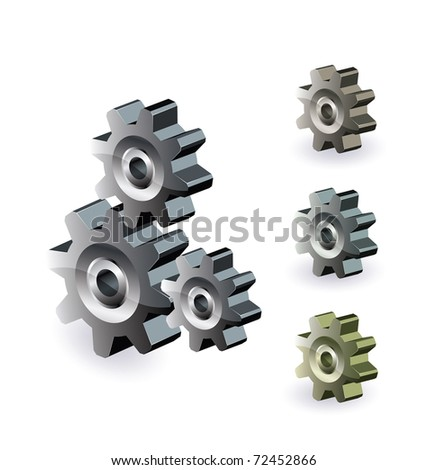 Image of a mechanism consisting of gears in different colors