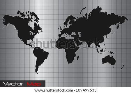 Image of a silver and black world map vector illustration.