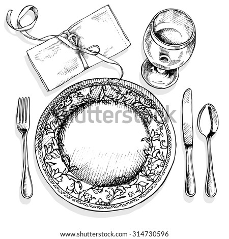 Image of a table setting with plate, fork, spoon, knife, wine glass and napkin. Vector black and white illustration.