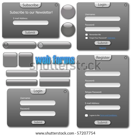 Image of a various grey web forms and buttons.
