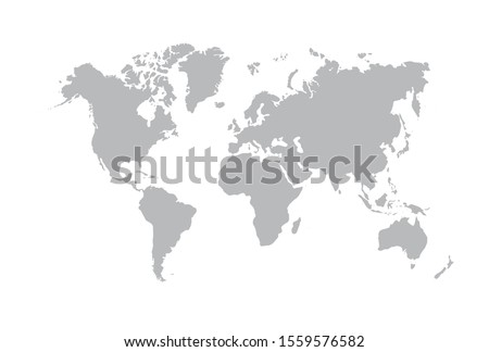 Image of a vector world map in white background. Australia, Asia, America, Europe. Africa. Vector illustration. EPS 10