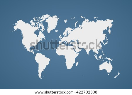Image of a vector world map with a colorful blue background. Vector illustration. EPS 10
