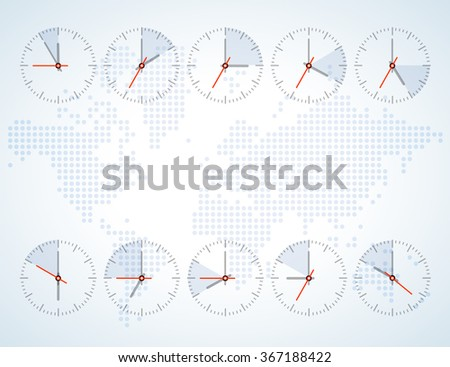 Time zone clock icons download free vector art stock graphics image of a wall clock on a background map of the world with continents bright tones gumiabroncs Images