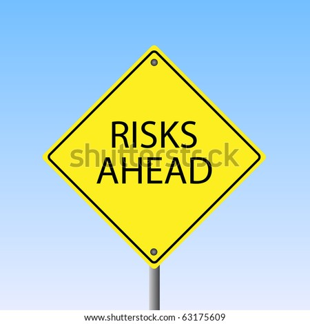 """Image of a yellow """"Risks Ahead"""" road sign with a sky background."""
