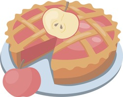 image of an appetizing apple pie garnished with apple slices.stock isolated illustration on white background for printing on postcards,websites,advertisements and menus of shops,cafes and restaurants