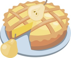image of an appetizing pear pie garnished with yellow pear slices.stock isolated illustration on white background for printing on postcards,websites,advertisements and menus of shops,cafes,cartoon.