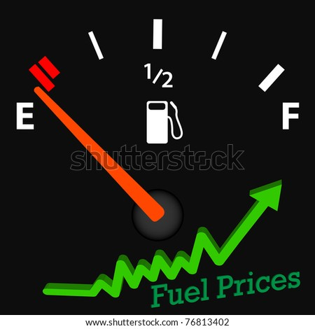 Image of an empty gas gage with rising fuel prices.
