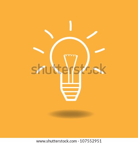 Image of an idea illustration with light bulb against a colorful orange background.