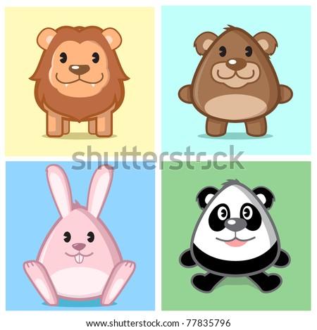 Image of animal lion bear bunny panda in caricature cartoon