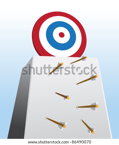 Image of arrows missing their shots toward too high target