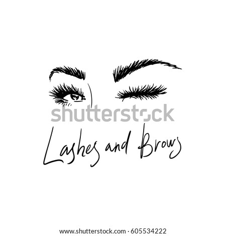 Image of beautiful eyelashes and eyebrows for the logo of the beauty salon.