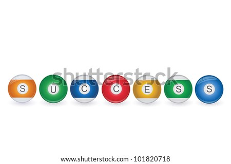 Image of billiard balls spelling Success isolated on a white background.