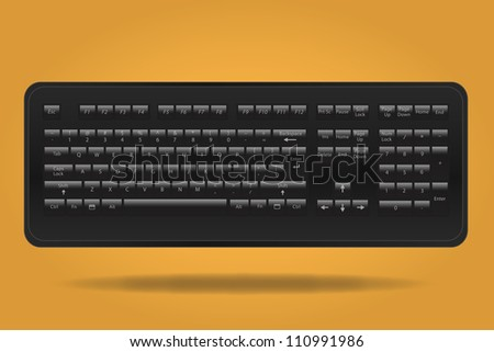 Image of black computer keyboard against a colorful orange background.