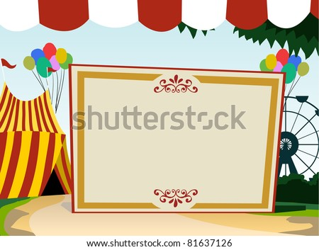 Image of blank board with carnival theme. See my portfolio for other blank board theme