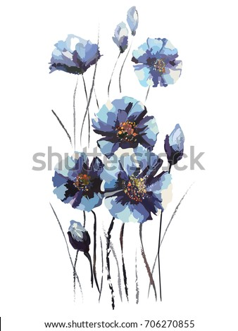 image of blue flowers in paints
