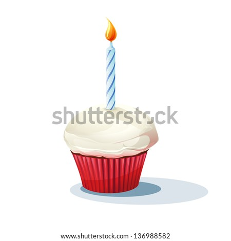 Image of cake with a candle.