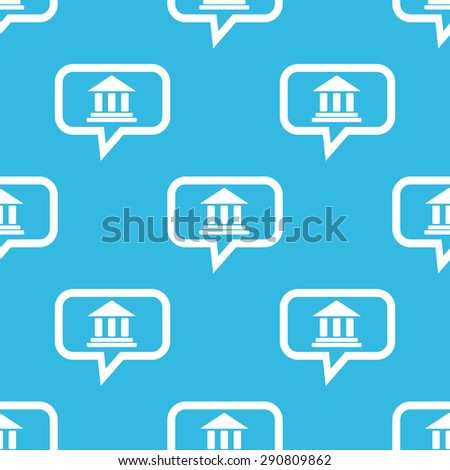 Image of classical building with pillars in chat bubble, repeated on blue background