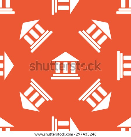 Image of classical building with pillars, repeated on orange background