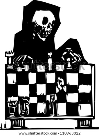 Image of death playing chess in a woodcut style.