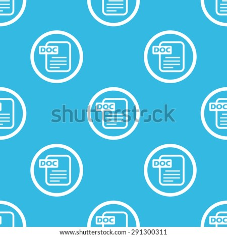 Image of document page and text DOC in circle, repeated on blue background