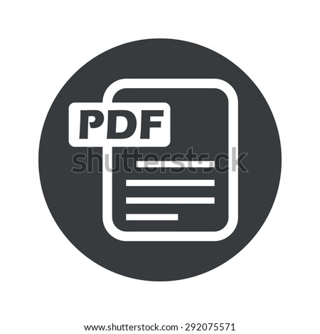 Image of document page with text PDF in black circle, isolated on white