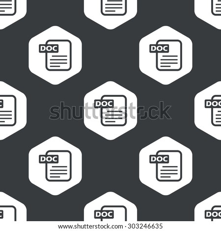 Image of document with text DOC in hexagon, repeated on black