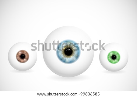 Image of eye ball with various colors of pupils. Eps 10