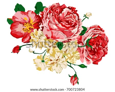 Stock Photo Image of flowers executed in red and orange colors. Vector
