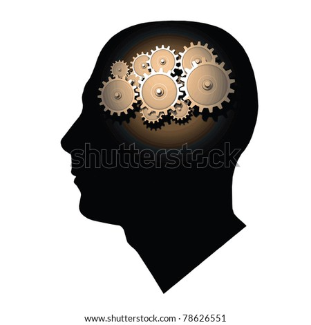 Image of gears inside of a man's head isolated on a white background.