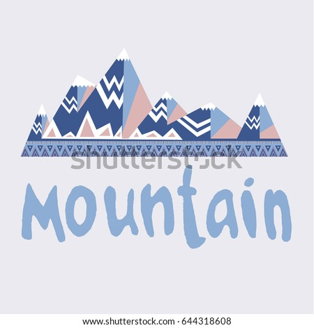 Image of mountains with ornaments and lettering. vector illustration
