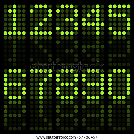 Image of numbers in green on a dark background.