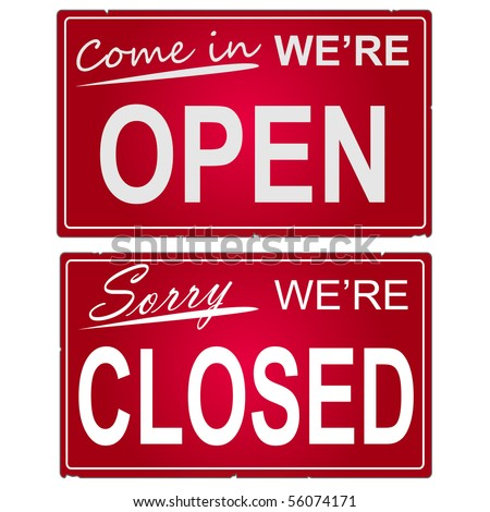 """Image of """"open"""" and """"closed"""" business signs."""