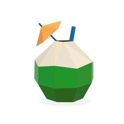 Image of polygonal coconut drink. low poly coconut logo vector illustration