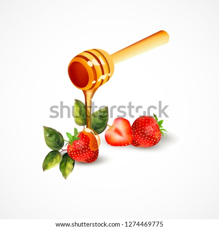 Image of realistic strawberry with honey on a white background. An image of strawberries with leaves. Image of a spoon with honey.