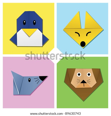 Image of sets of animal heads origami. Check my portfolio for other origami image.