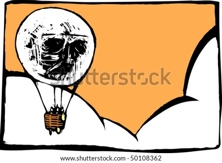 Image of skull in a hot air balloon with semblance to a light bulb.