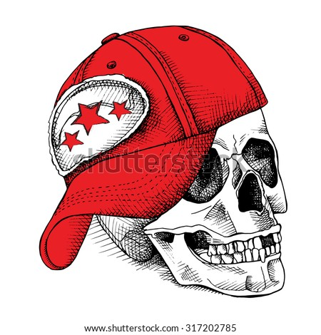 image of skull in the cap