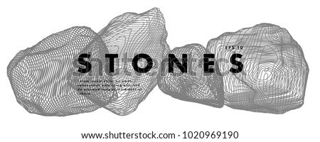 Image of stones. Minimal art cover design. Conceptual vector drawn by lines. Creative line-art. Vector template brochures, flyers, logo, presentations, leaflet, banners.