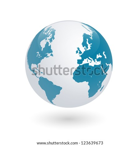 Image of the earth globe isolated on a white background.