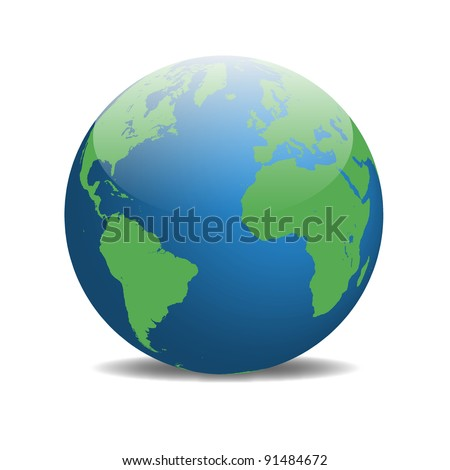 Image of the earth isolated on a white background.