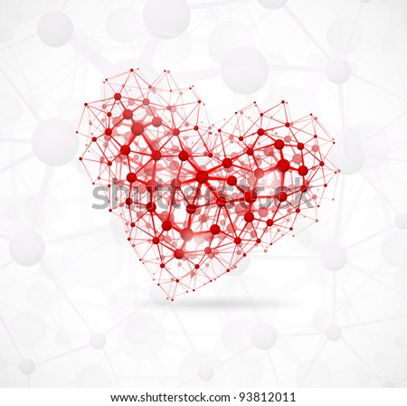 Image of the heart, consisting of molecular structure. Eps 10 - stock vector