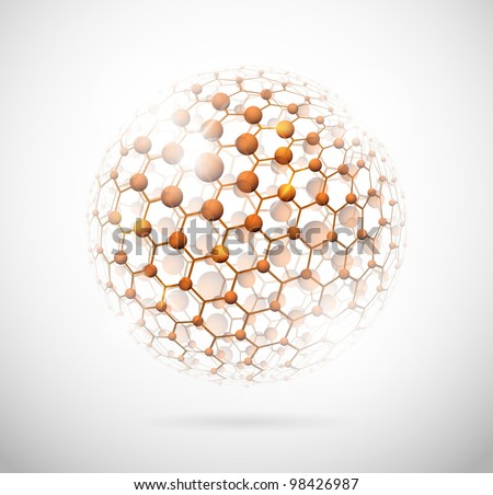 Image of the molecular structure in the form of a sphere. Eps 10