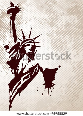 Image of the Statue of Liberty on grungy background for 4th July American day and other events. Vector illustration.