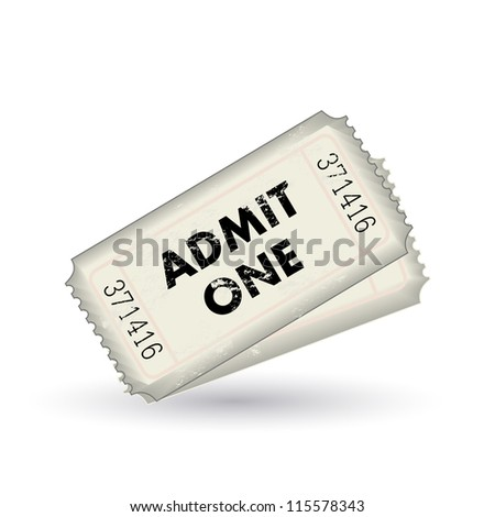 Image of two admit one tickets isolated on a white background.
