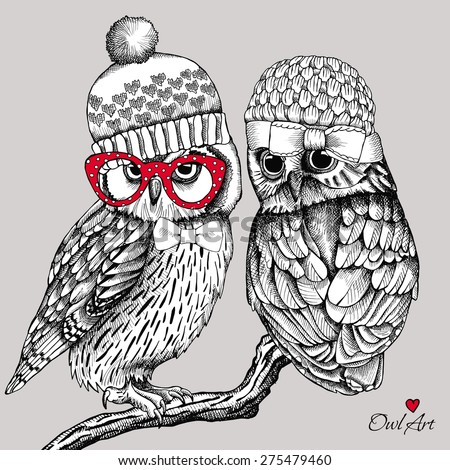 image of two owls in knitted