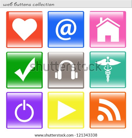 Image of various colorful square web buttons isolated on a white background.