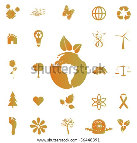 Image of various eco-friendly icons.